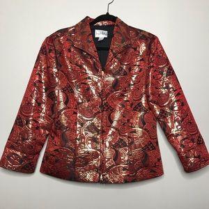 Joseph Ribkoff Red Metallic Zip Blazer Jacket   14